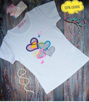 Футболка Качественная футболка для вашей принцессы!  100% хлопок.Очень хорошего качества! Короткий рукав , круглый ворот для подвижных детей. Принт с черными стразами. Размеры даны на рост ребенка, но