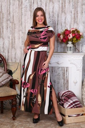 Д470 Платье Лейла (цветы на коричневом)