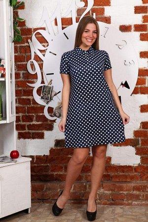 Д473 Платье Поло Лика (горох на джинсе)