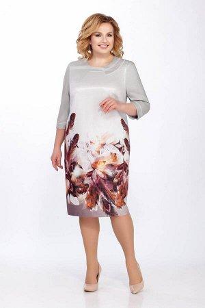 Платье LaKona 1183 серый+вишня