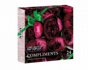 Чай Набор ассорти SVAY Compliments Peonies в подарочной яркой упаковке с пионами. Шкатулка удобна для чайного столика. На ней вы сможете прочесть много-много комплиментов: безупречная, волшебная, сказ