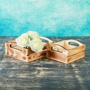 """Набор кашпо деревянных подарочных """"Эталон"""", 2 в 1, ручки вырезы боковые, экзотик"""