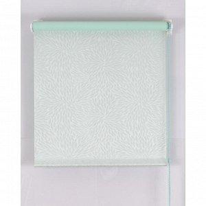 Рулонная штора Blackout. размер 200х160 см. имитация жаккарда «подсолнух». цвет светло-зелёный