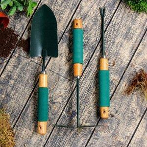 Набор садового инструмента, 3 предмета, 36 см, рукоять дерево с поролоном