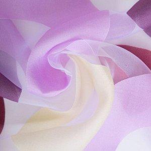 """Тюль """"Этель"""" Калейдоскоп (цвет лиловый) без утяжелителя, ширина 250 см, высота 270 см"""
