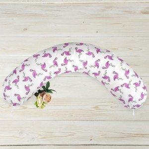 Подушка для беременных, размер 25 ? 170 см, принт фламинго