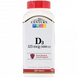21st Century, Витамин D3, 125 мкг (5000 МЕ), 360 таблеток