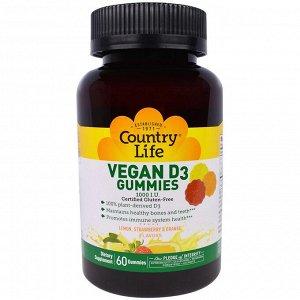 Country Life, Vegan D3 Gummies, Lemon, Strawberry & Orange Flavors, 1,000 IU, 60 Gummies