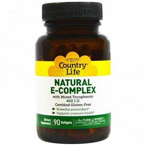 Country Life, Натуральный комплекс витамина Е со смесью токоферолов, 400 МЕ, 90 мягких желатиновых капсул