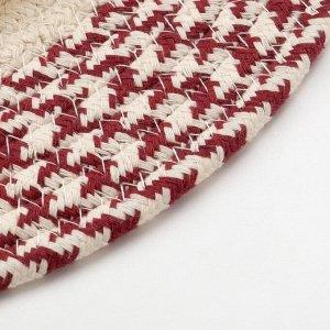 Подставка под горячее Доляна цв.молочно-бордовый,35*35 см, 100% хлопок