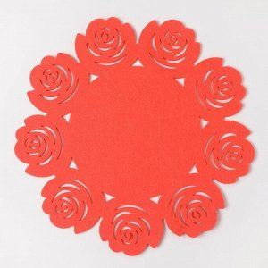 "Салфетка декоративная Доляна""Цветы"" цвет розовый,d 30 см, 100% п/э, фетр"