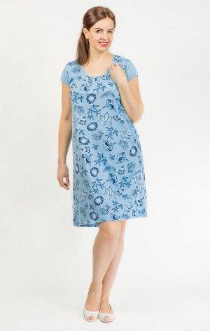 Сорочка с коротким рукавом, голубой (566-3)
