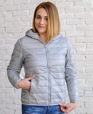 Ультралегкая женская куртка с капюшоном, цвет серебро