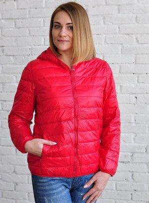 Ультралегкая женская куртка с капюшоном, цвет красный