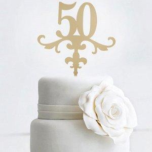 Топпер 50 лет акрил золото