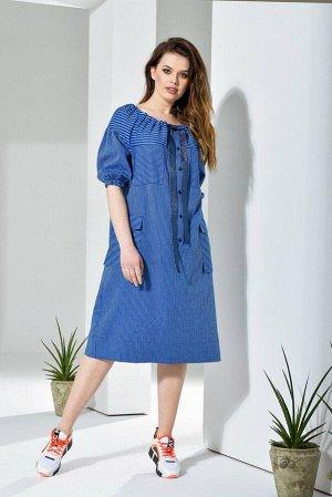 Платье Платье Anna Majewska А226  Состав ткани: Хлопок-45%; Лён-55%;  Рост: 170 см.  Платье А силуэта на кокетке. Горловина регулируется тесьмой, завязывающейся спереди. Пышный рукав на спущенной про