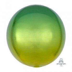"""А 3D СФЕРА Б/РИС 16"""" Омбре Желто-зеленый"""