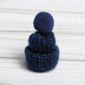 Шапка для игрушек вязанная с помпоном, набор 5 шт., цвет синий