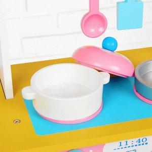 Игровой набор «Кухня с сердечком», деревянная посуда в наборе