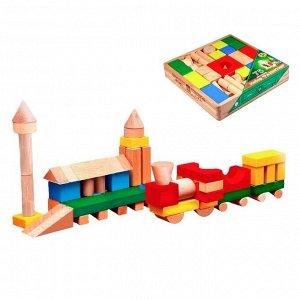 Конструктор цветной, 75 деталей, в деревянной коробке
