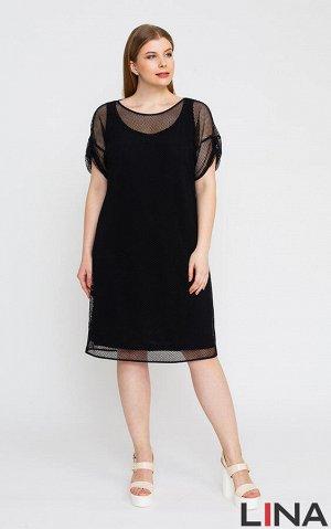Платье Белый, черный.  Модное платье оригинального фасона, состоящее из полуприталенной основы без рукавов и внешней части из ткани - сетка. Рукава модели короткие, на хлястике с пуговицей, вырез горл