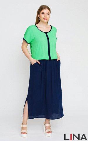 Платье Желтый, белый, зеленый 50,52,54. платье с имитацией блузы и юбки., чуть ниже линии талии - эластичная резинка, позволяющая создать комфортный напуск.  Состав: вискоза 100%