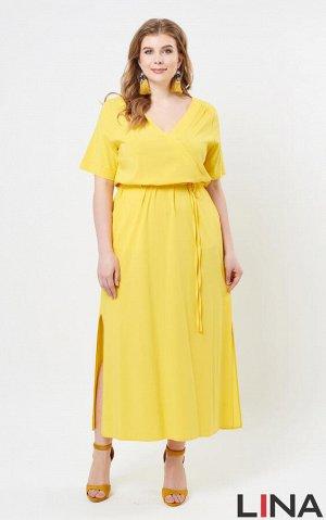 """Платье Желтый, . Длинное платье с рукавами средней длины, глубокой V-образной горловиной, имитирующей """"запах"""". По талии проходит кулиска с тонким пояском, сбоку расположены удобные карманы, а внизу -"""