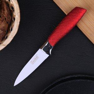 """Нож кухонный """"Рельеф"""" лезвие 9 см, цвет МИКС"""
