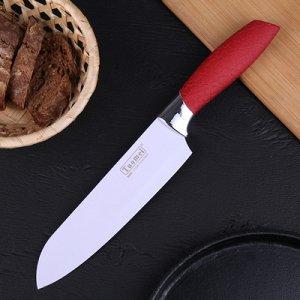 """Нож кухонный """"Рельеф"""" лезвие 18х4,5 см, цвет МИКС"""