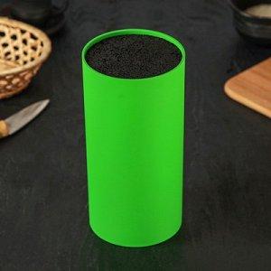 """Подставка для ножей """"Нео"""" с наполнителем, покрытие Soft-touch, 22х11 см, цвет зелёный"""