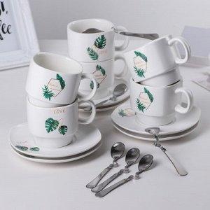 "Сервиз чайный 18 пред ""Папоротник"" 6 чашек 190 мл 9х7х6,5 см, 6 блюдец 13х1,5, 6 ложек"