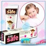 LION Детская зубная паста  со вкусом клубники «KIDS SAFE», от 3-х до 12 лет