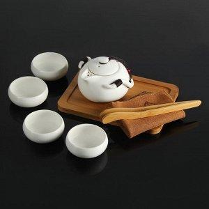 "Набор для чайной церемонии ""Тясицу"", 8 предметов: чайник 120 мл, 4 чашки 50 мл, щипцы, салфеточка, подставка"