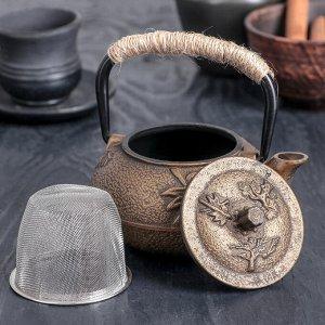Чайник с ситом «Долголетие. Золото. Этно», 300 мл, цвет чёрный