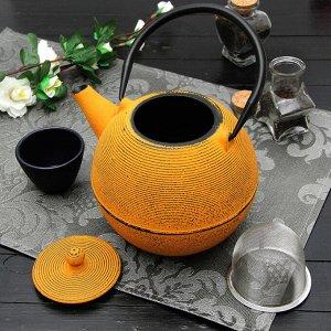 Чайник «Аман», 1 л, с ситом , с эмалированным покрытием, цвет жёлтый