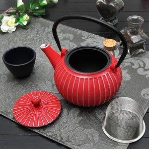 """Чайник с ситом 500 мл """"Тео"""", цвет красный"""