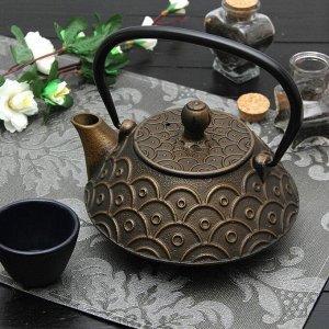 """Чайник с ситом 800 мл """"Джана. Золото. Этно"""", цвет черный"""