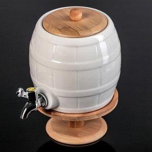 Бочонок с краником  «Эстет», 2,5 л, на деревянной подставке