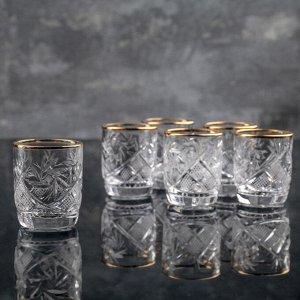 Набор стаканов для вина «Мельница», отводка золотом, 35 мл, 6 шт