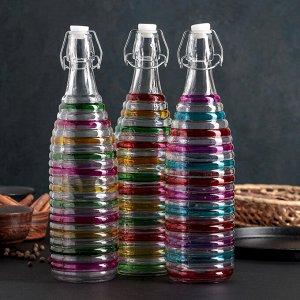 Бутыль для соусов и масла «Галерея», 1 л, 8,5?32 см, с бугельным замком, цвет МИКС