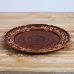 Тарелка, ангоб, 25 см, роспись ангобом