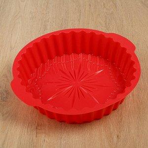 Форма для выпечки Доляна «Рифлёный круг. Звезда», 29?28 см, с ручками, цвет МИКС