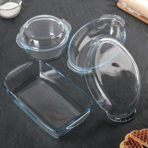Набор посуды для запекания, 3 предмета: кастрюля 1,5 л, утятница 1,7 л, форма 2,5 л