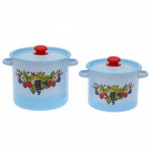 Набор кастрюль «Ягодный чай», 2 предмета: 3,5 л; 5,5 л