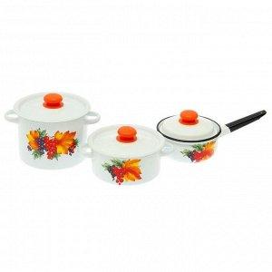 Набор посуды «Смородина», 3 шт: кастрюли 2/3,5 л; ковш с крышкой 1,5 л