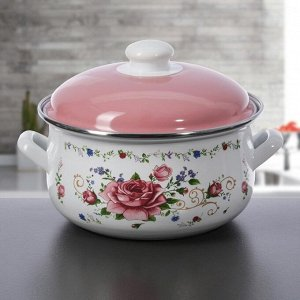 Набор кастрюль «Розовый букет». 3 шт: 2 л, 3 л, 4 л