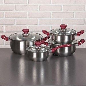 Набор посуды «Черри», 4 предмета: 3 кастрюли 2/3/5 л, ковш 1,5 л, стеклянные крышки, капсульное дно