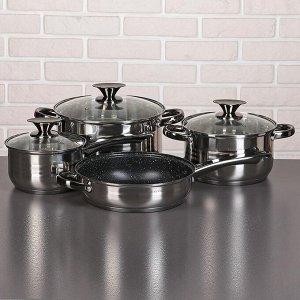 Набор посуды «Софи», 4 предмета: кастрюли 3,6/6,1 л, ковш 1,9 л, сотейник с антипригарным покрытием 24х6,5 см, капсульное дно