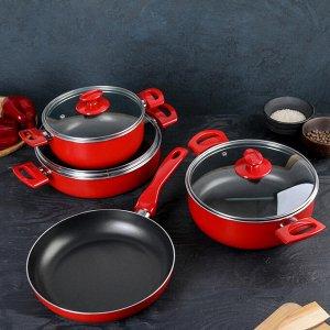 Набор посуды Papilla Redio, 4 предмета: сковорода d=26 см, сотейник 4,2 л, кастрюли 2,5/3,9 л