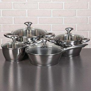 Набор посуды «Клара», 4 предмета: кастрюли 3,4/5,8 л, ковш 1,9 л, сотейник с антипригарным покрытием 24 см, капсульное дно